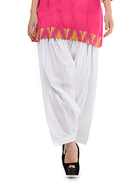 White Blended Cotton Patiala Pant