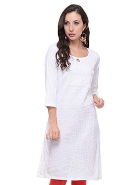 White Blended Cotton Striped Kurti