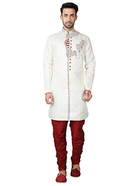 White Brocade Breeches Style Indowestern Sherwani