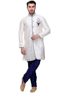 White Brocade Breeches Style Sherwani