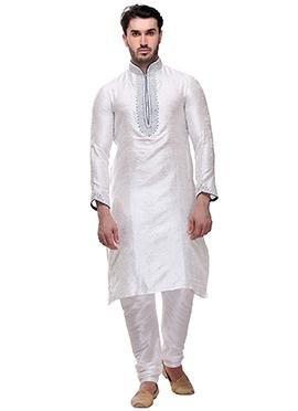 White Brocade Kurta Pyjama