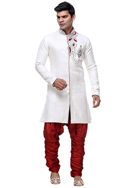 White Brocade Sherwani
