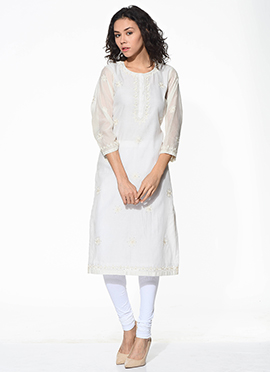 White Chanderi Blended Cotton Kurti