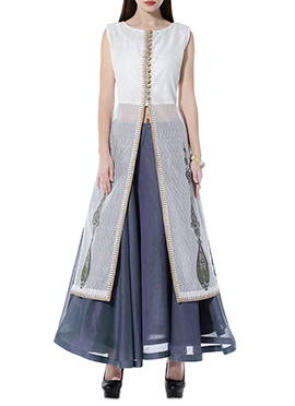 White Chanderi Skirt Set