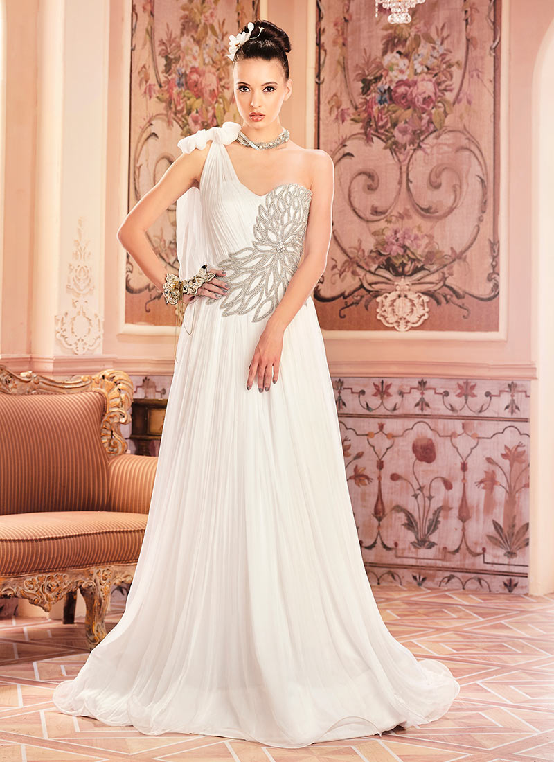 Buy White Chiffon Anarkali Gown, Stones , Embroidered, dresses and ...
