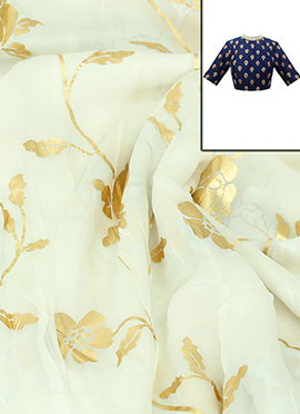 White chiffon With Foil Print Blouse Material