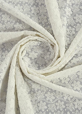 White Chikankari Fabric