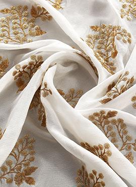White Chinnon Embroidered Fabric