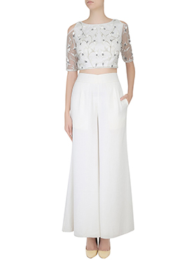 White Cold Shoulder Palazzo Set