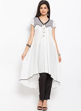 White Cotton Assymmetrical Anarkali Kurti