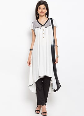 White Cotton Asymmetrical Straight Pant Suit