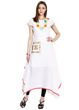 White Cotton Asymmetrical Tunic