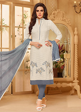 White Cotton Churidar Suit