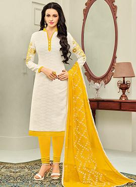 White Cotton Churidar Suit