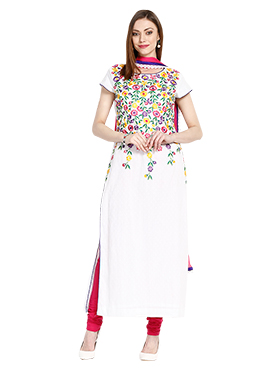 White Cotton Embroidered Straight Suit