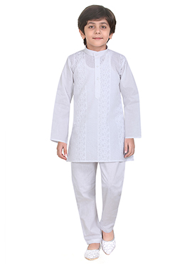 White Cotton Kids Kurta Pyjama