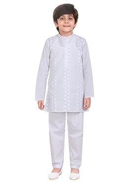 White Cotton Kids Kurta Pyjama
