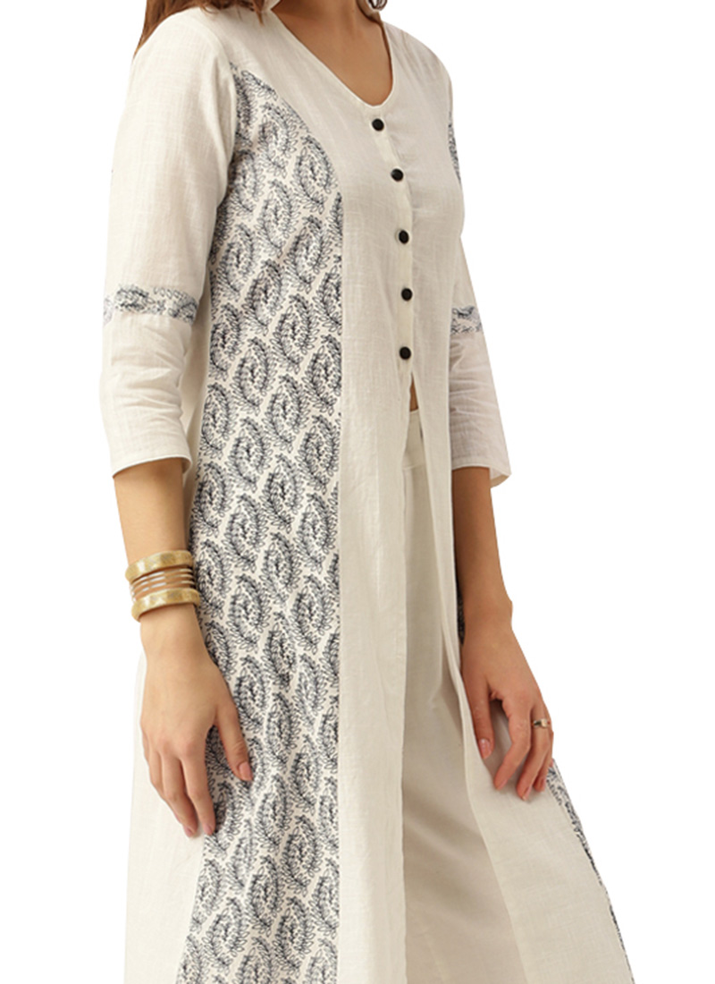 Buy White Cotton Kurti Printed Long Kurti Online