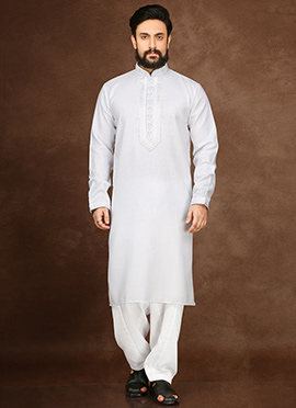 White Cotton Linen Kurta Pyjama