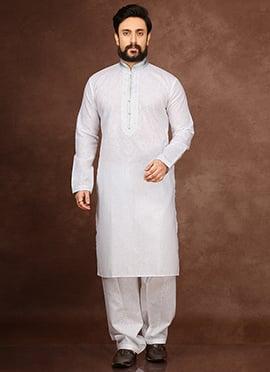 White Cotton Linen Kurta Pyjama