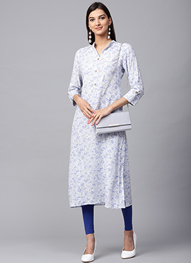 White Cotton Long Kurti