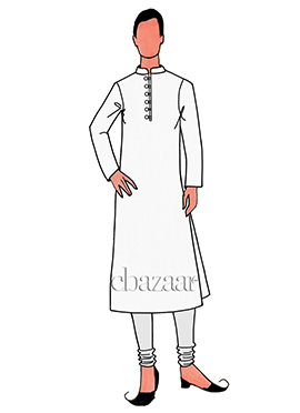 White Cotton Plain Kurta Pyjama Set