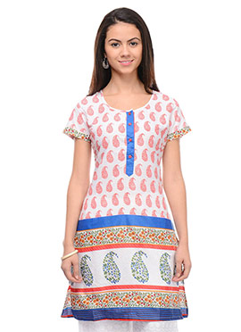 White Cotton Printed Short Kurti