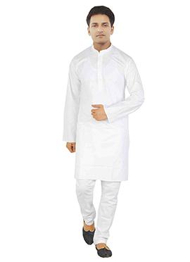 White Cotton Solid Patterned Kurta Pyjama