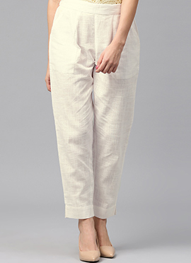 White Cotton Straight Pant