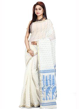 White Cotton Tant Saree