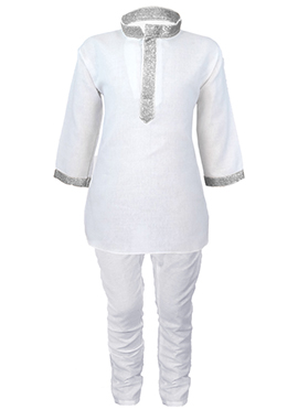 White Cotton Teens Kurta Pyjama