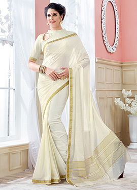 White Crepe Silk Saree