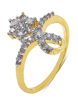 White Cubic Zirconia N Gold Plated Ring