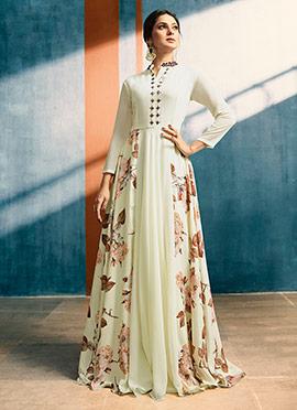 Jennifer Winget Off White Printed Anarkali Gown