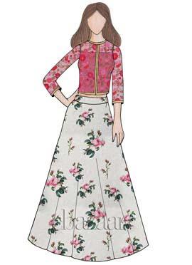 White Digital Printed Chanderi Cotton Skirt Set