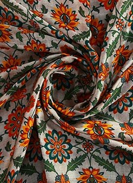 White Digital Printed Modal Satin Fabric