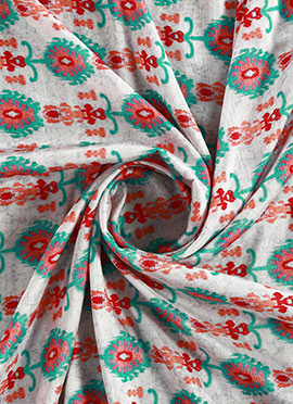 White Digital Printed Munga Silk Fabric