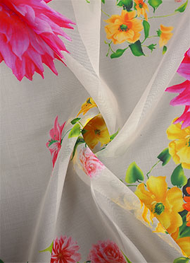 White Digital Printed Organza Fabric