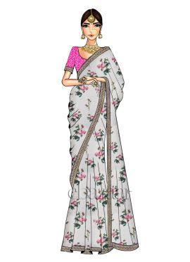 White Digital Printed Saree N pink Blouse