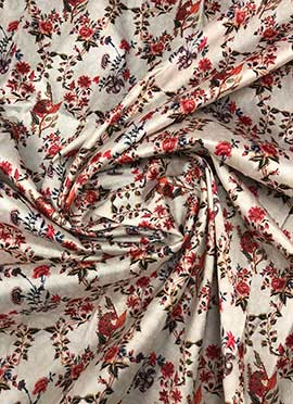 White Digital Printed Taffeta Fabric