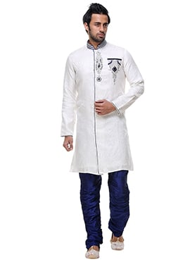 White Dupion Silk Breeches Sherwani