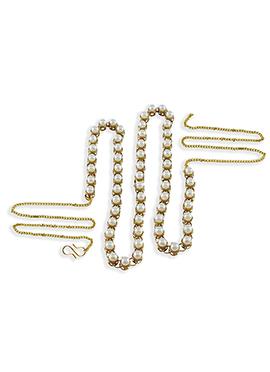 White Elegant Moti Decked Saree Belt