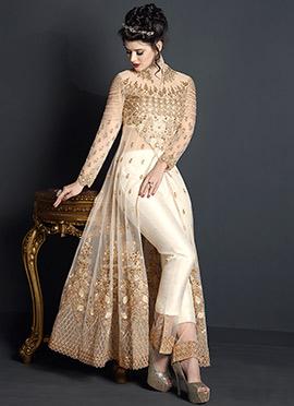 White Embroidered Abaya Style Anarkali Suit