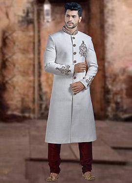 White Embroidered Achkan Sherwani