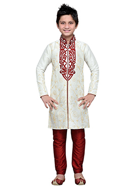 White Embroidered Art Silk Boys Kurta Pyjama