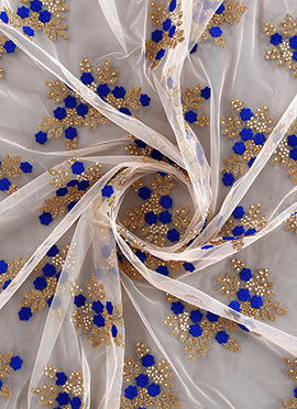 White Embroidered Georgette Fabric
