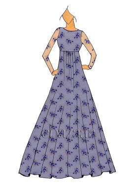 Blue Embroidered Georgette Gown