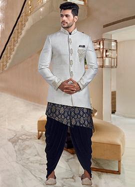 White Embroidered Indowestern Sherwani