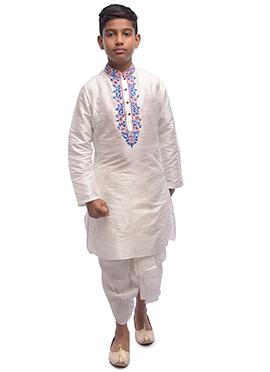 f3e57f74ec6 White Embroidered Kids Dhoti Kurta