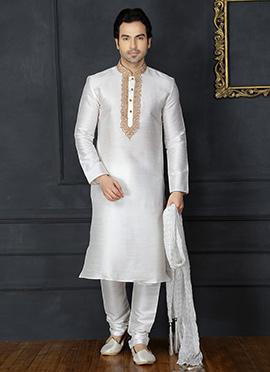 White Embroidered Kurta Pyjama